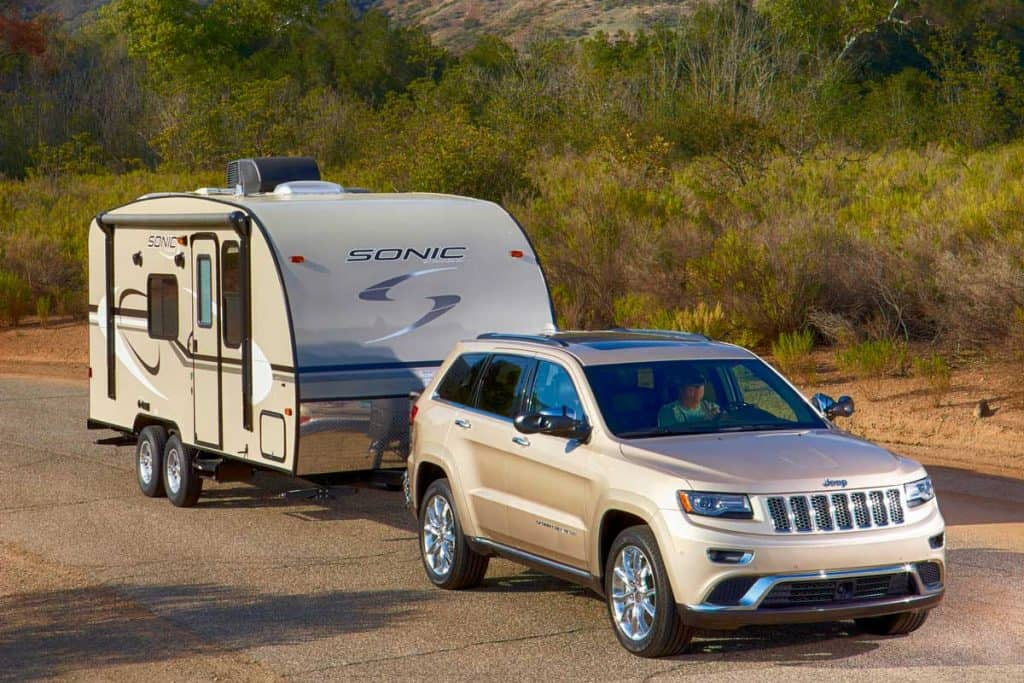 Jeep cherokee pulling a Sonic travel trailer in beautiful Ojai ca, What's The Jeep Grand Cherokee Towing Capacity?