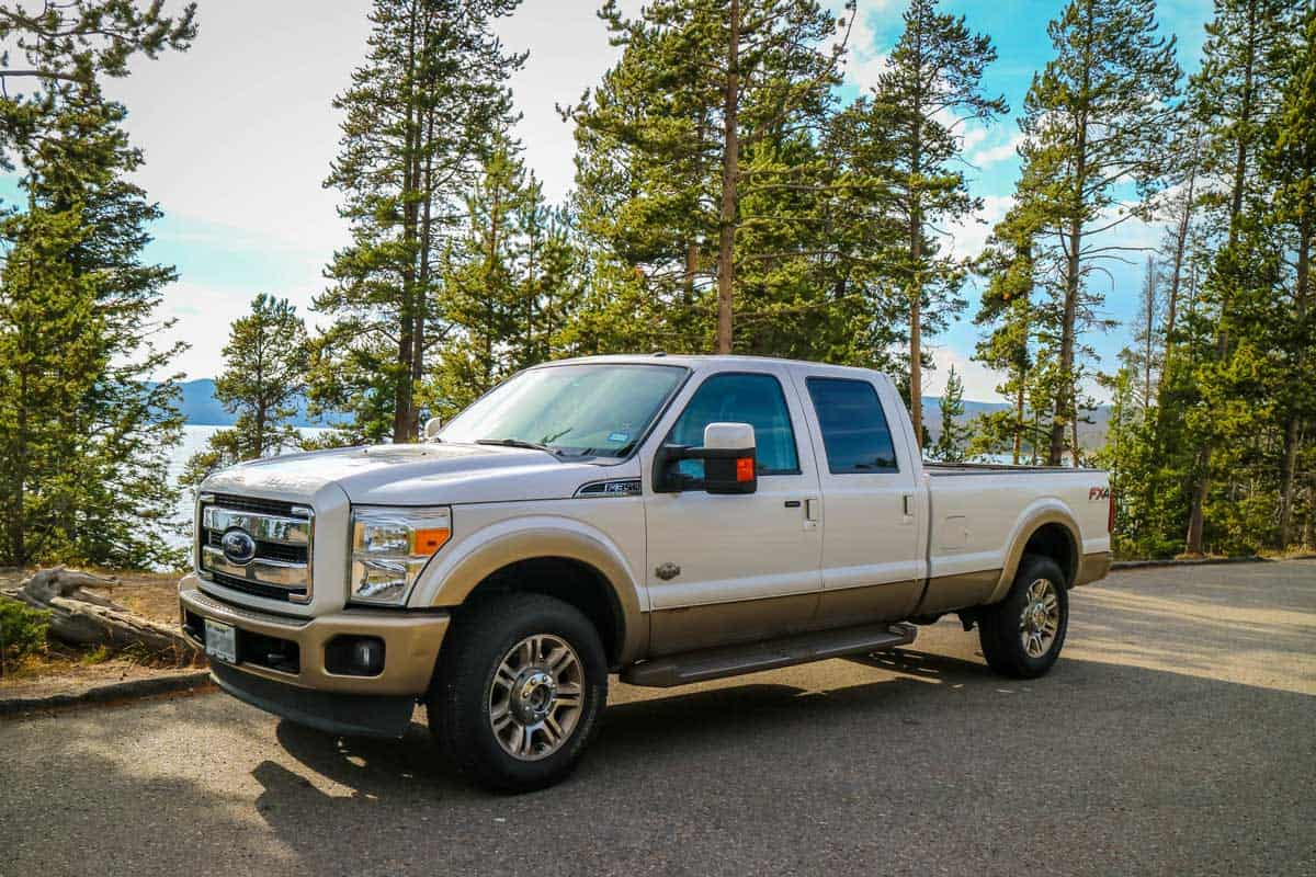 The F350 Ford parked along the preserve park, Should You Buy A Used Pickup For Towing?