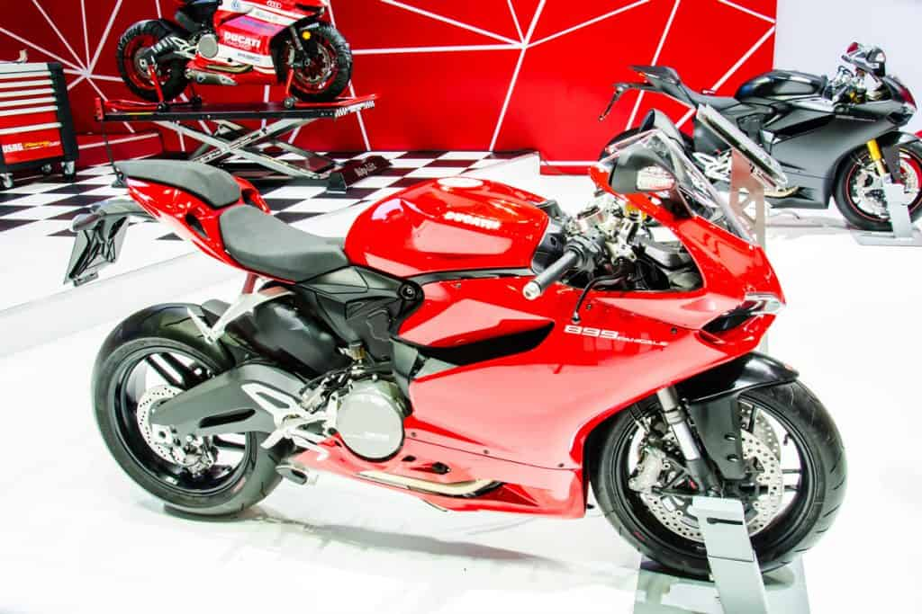 A Ducati Panigale 1299 V4 at a motorshow