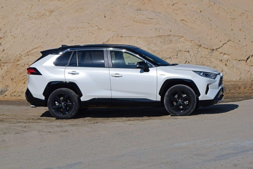 A Toyota Rav4 parked on the side of a rocky mountain, Does Toyota RAV4 Have Leather Seats?