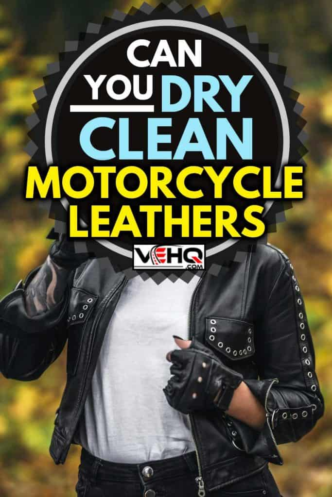 Pretty blonde biker styled women in black leather jacket with sunglasses standing outdoors in the forest with colorful blurred background, Can You Dry Clean Motorcycle Leathers?