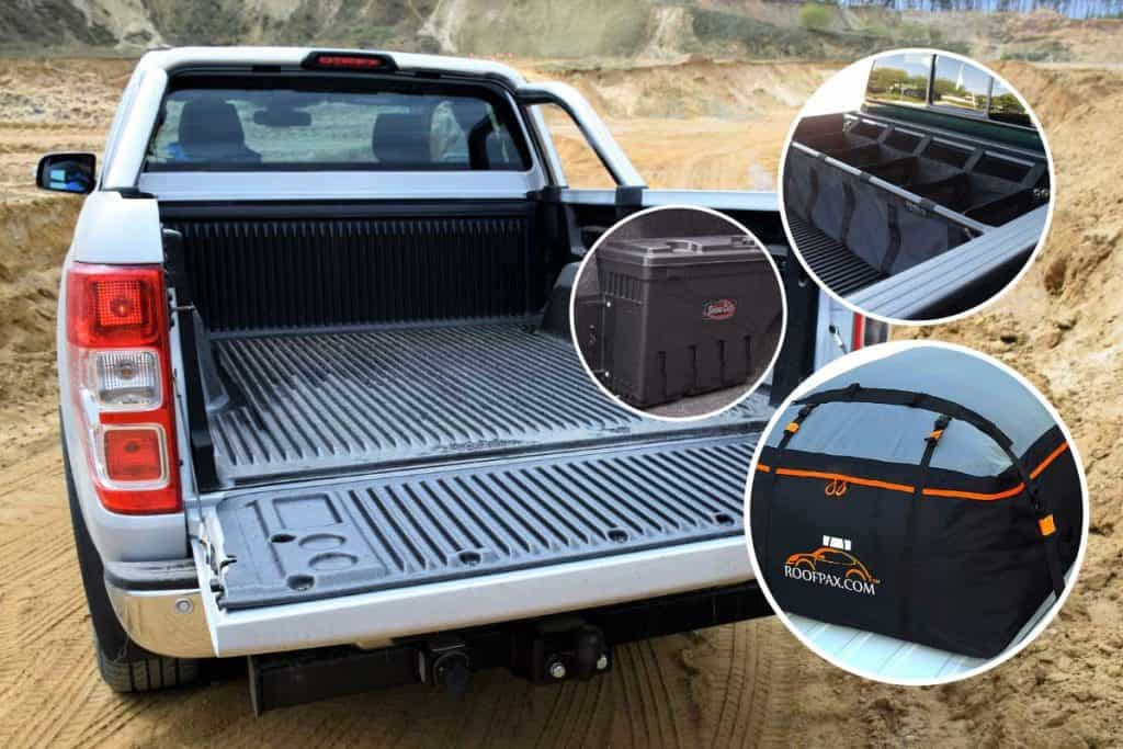 A collage of pickup truck storage with cargo bed of Ford Ranger pickup truck on the background, 6 Pickup Storage Solutions For A Well-Organized Ride