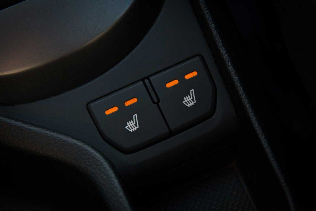 Seat heating buttons of a car