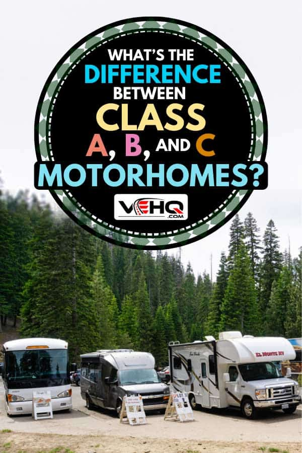 Class a, b, and c motorhomes on RV parking lot area, What's the Difference Between Class A, B, and C Motorhomes?