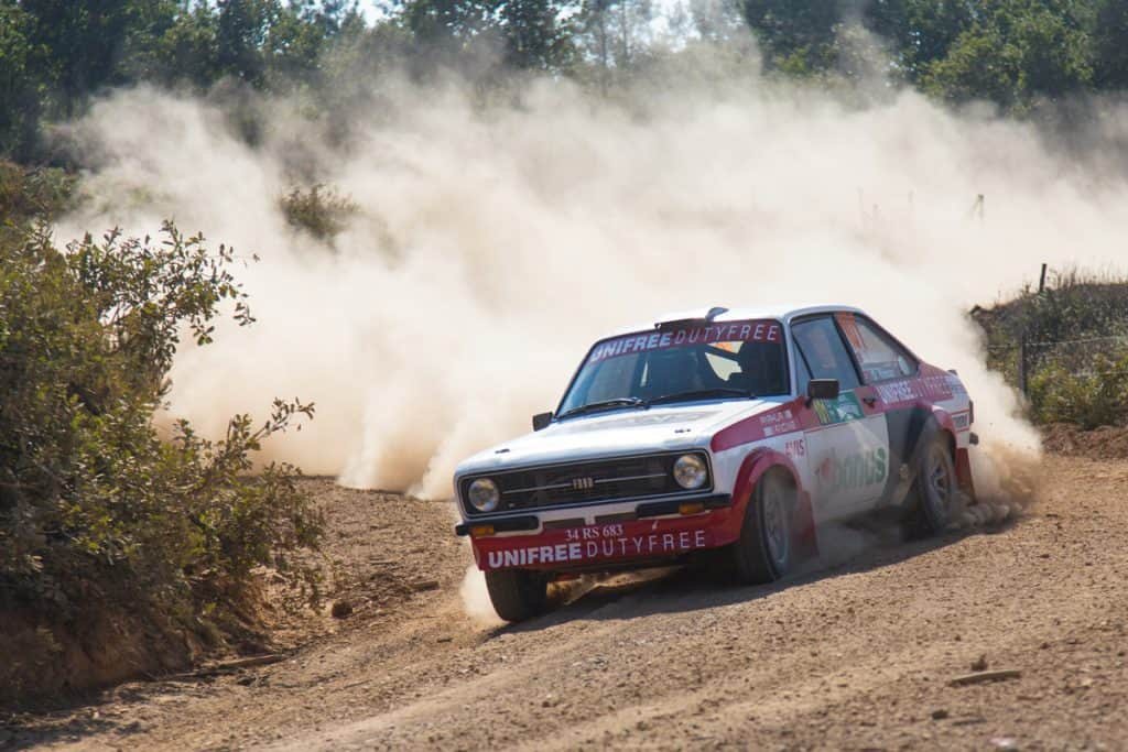 A Ford Escort converted into a rally car