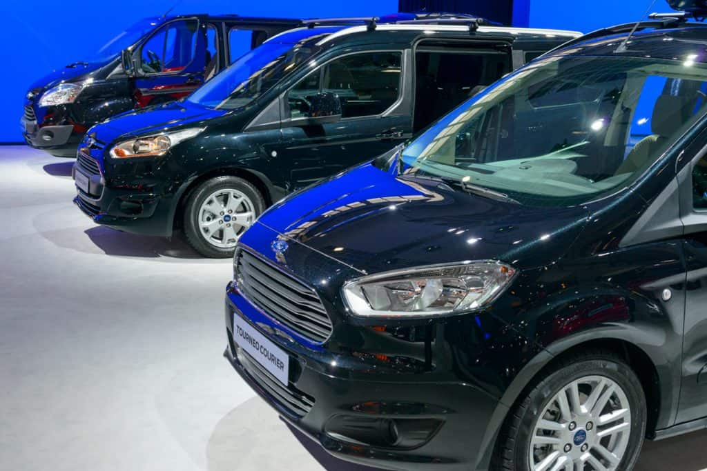 Black colored Ford Transit on display at a car show