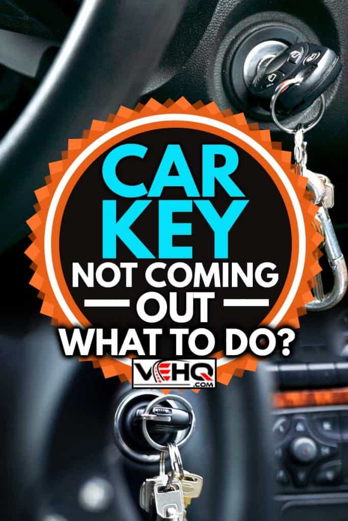A collage of car keys stock on ignition switch, Car Key Not Coming Out - What To Do?