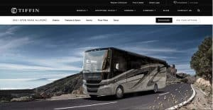 Tiffin Motorhome website homepage