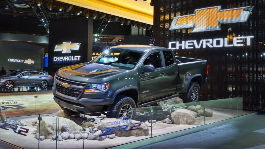 chevy colorado zr2 on display at a car show