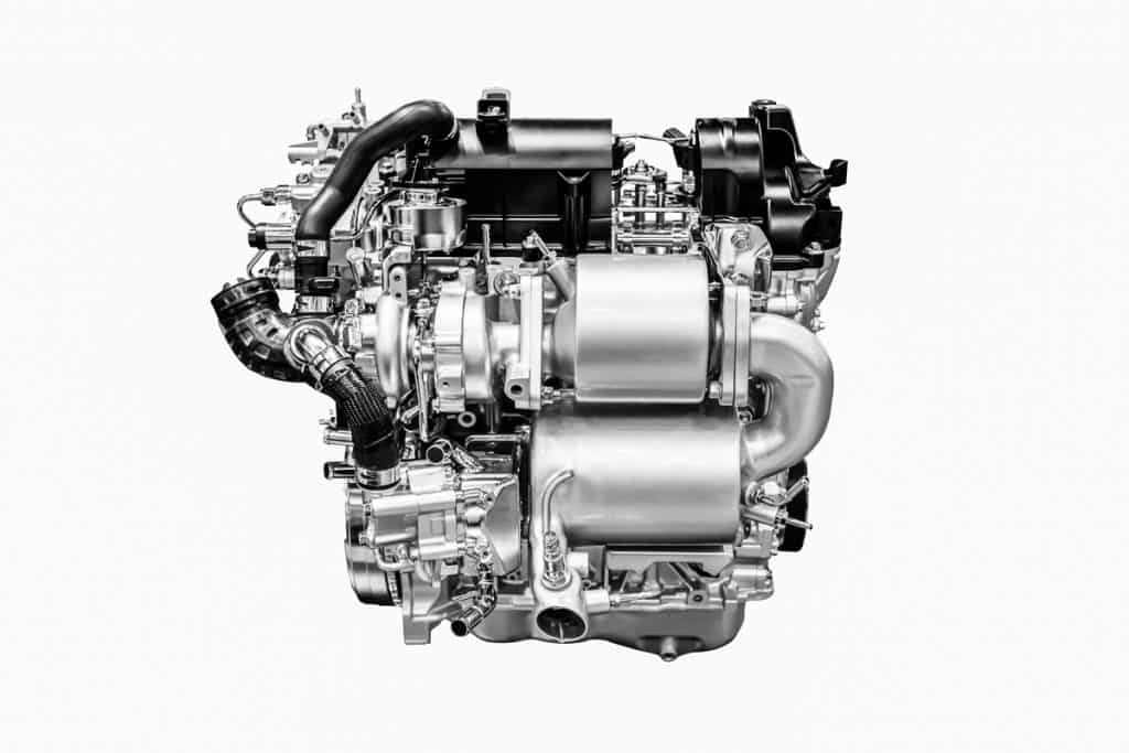 A car engine on a white background