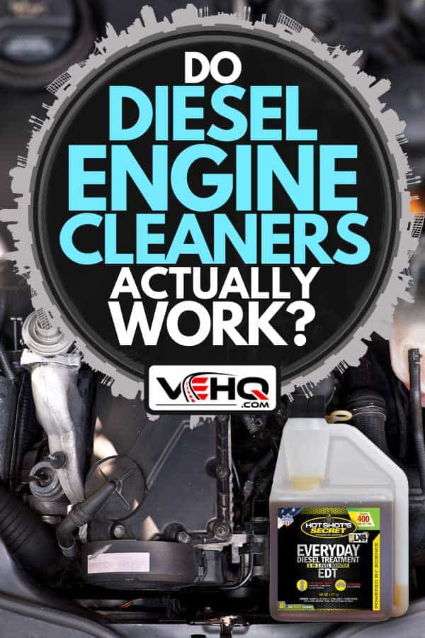 A close up photo of a diesel engine and a diesel engine cleaner, Do Diesel Engine Cleaners Actually Work?