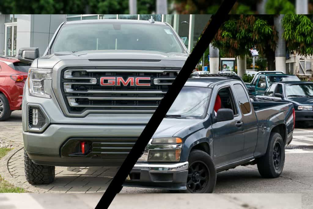 Collage of GMC Canyon in the city street, Does GMC Canyon Have Adaptive Cruise Control?