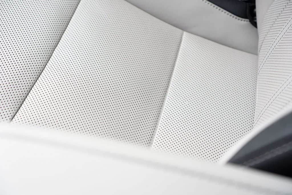 An up close photo of a GMC Sierra's cooled seat