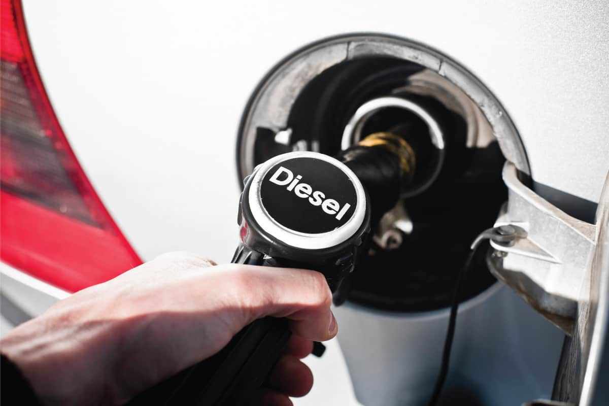 Diesel fuel pump at petrol station placed into tank