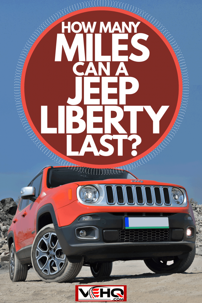 A brand new red Jeep Renegade photographed on a rocky terrain, How Many Miles Can a Jeep Liberty Last?