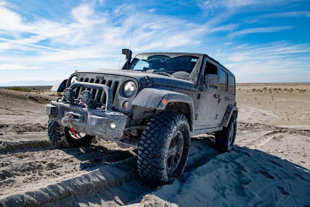 Jeep Wrangler on a desert landscape