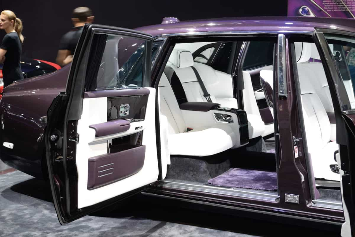 Rolls Royce Phantom at a motor show with suicide doors