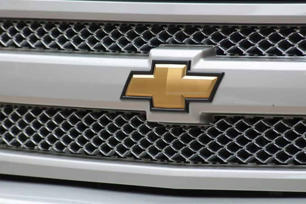 Chevrolet badge in the bumper of a Chevy Colorado