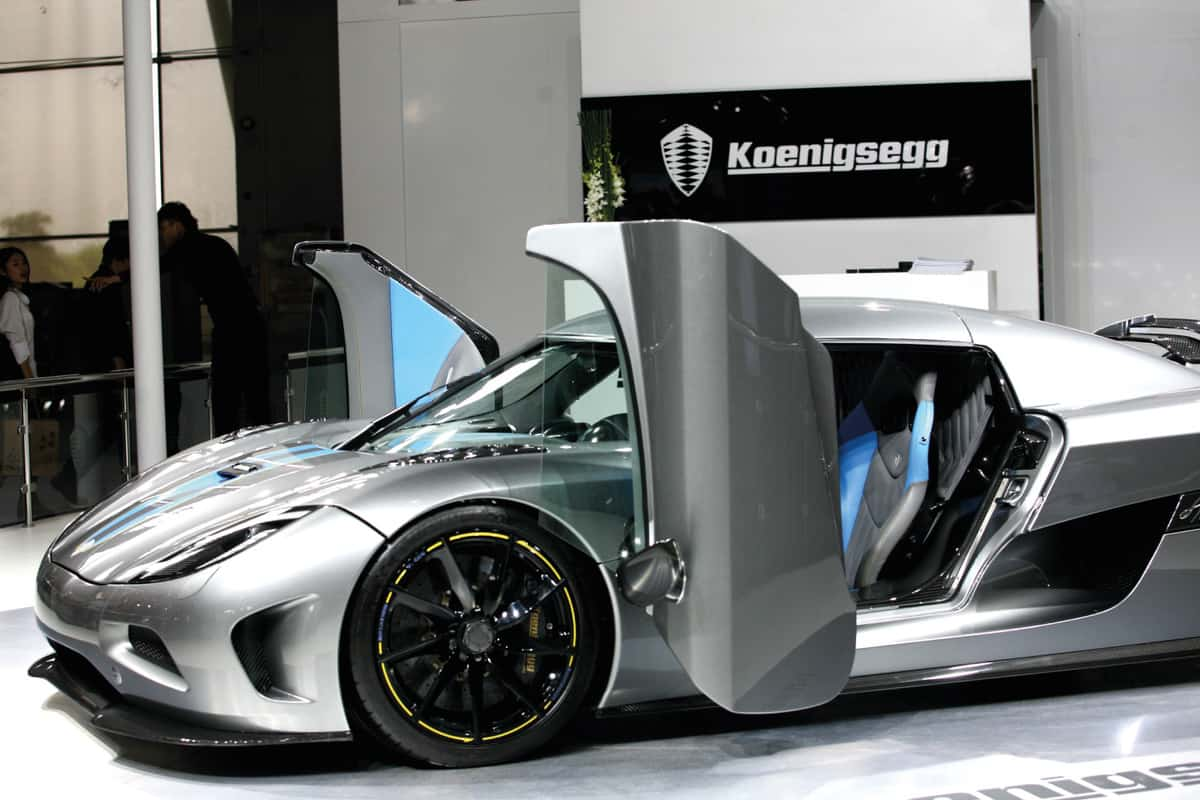 Koenigsegg Agera R with Dihedral Synchrohelix Doors on display