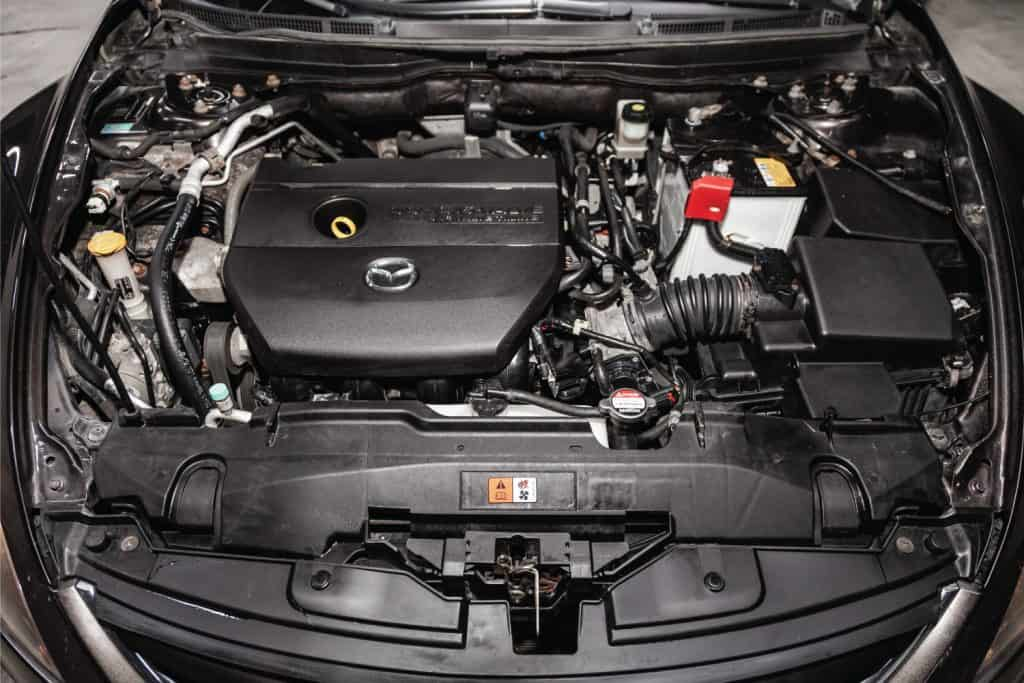 Mazda gasoline engine under the hood