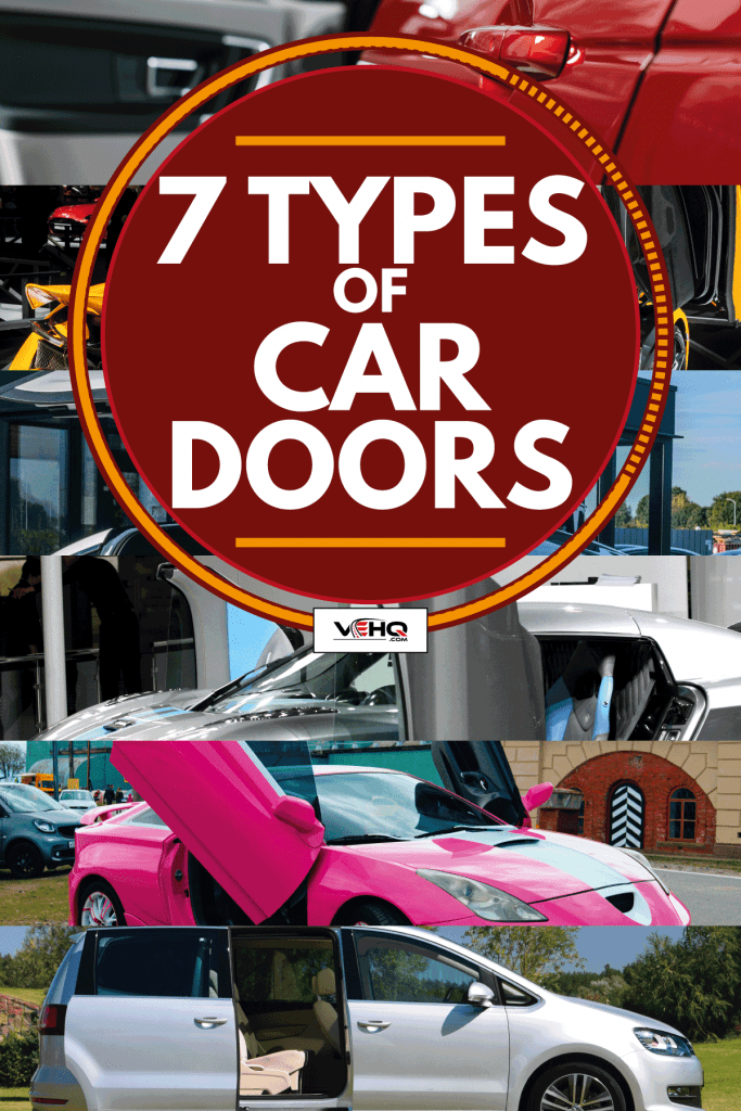 Photo collage of different cars at different car shows with doors wide open, 7 Types Of Car Doors