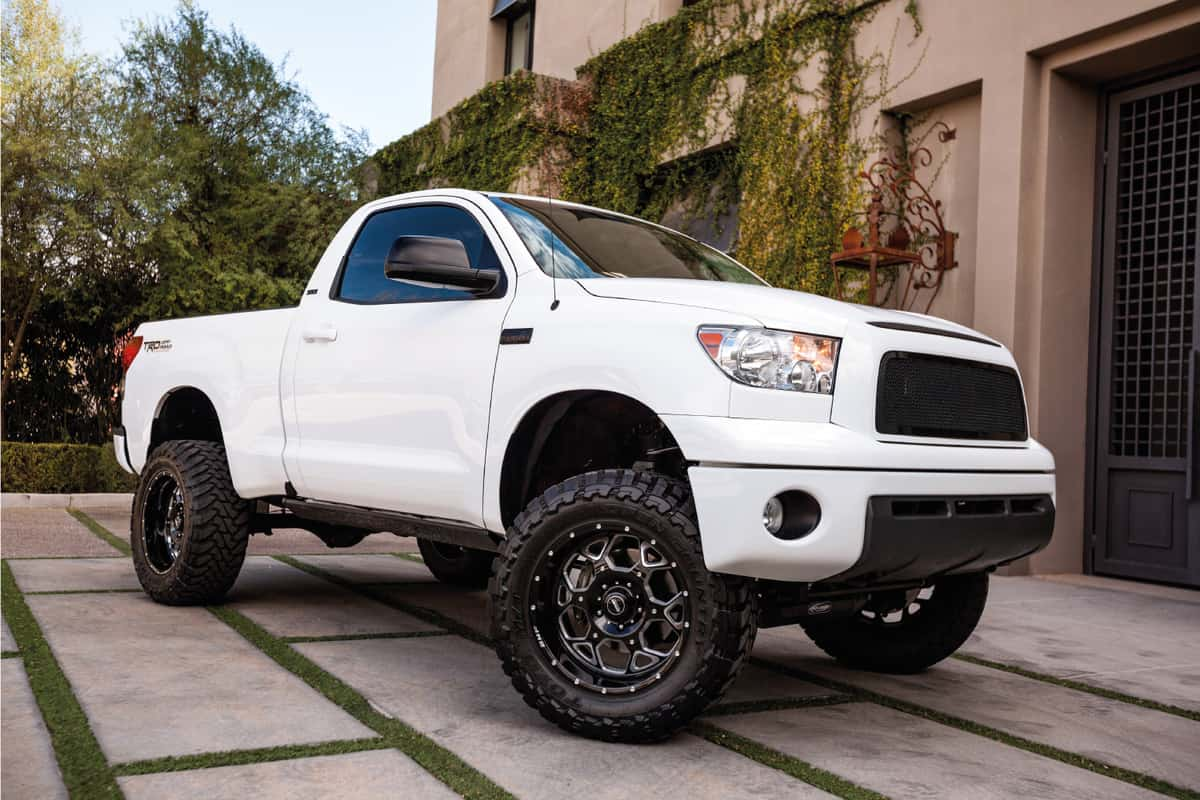 A photo of a parked white 2008 Toyota Tundra pick up truck