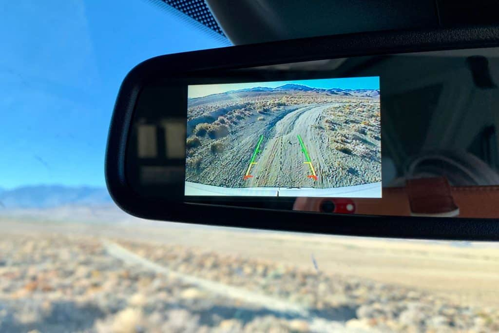 A rear camera display turned on due to reverse gear
