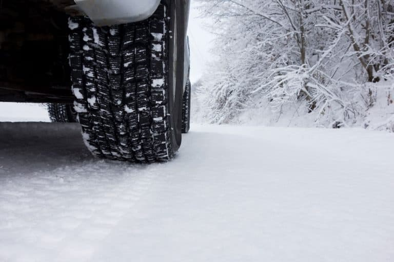 An up close and detailed view of a pick up trucks winter tire, Can You Drive A 2WD Truck In Snow?