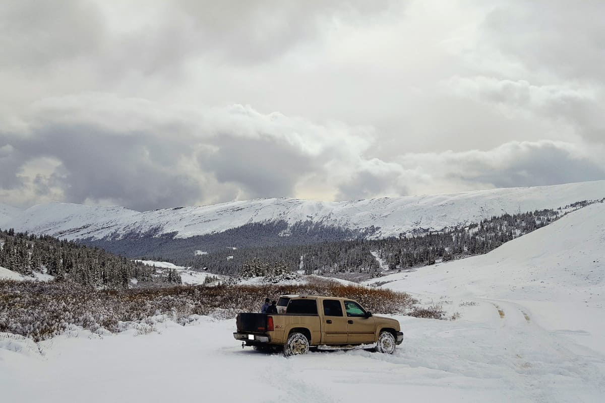 Chevy truck taking us up the mountains for a nice hike up Grays in Colorado, USA