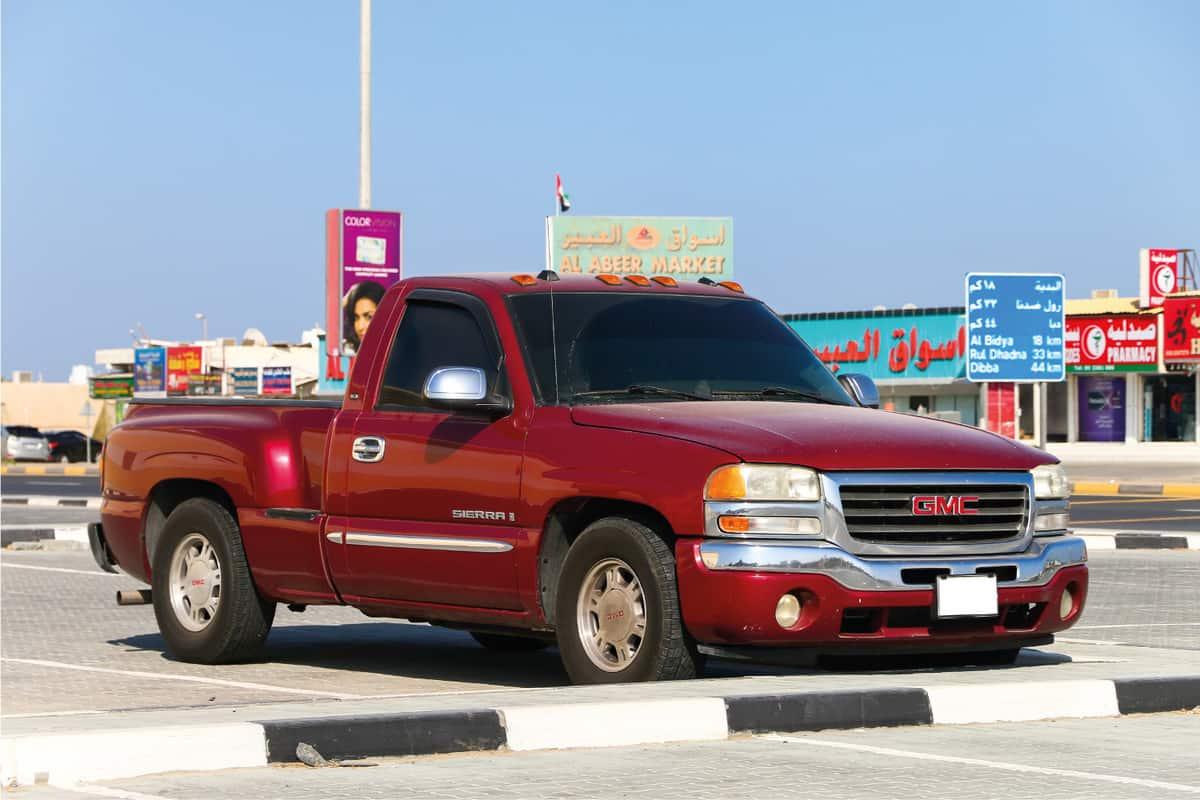 Pickup truck GMC Sierra in the city street
