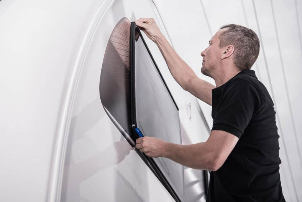 RV Travel Trailer Window Seal Check by Recreational Vehicles Service Technician