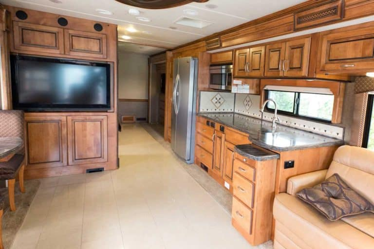 A view of the inside of a new mobile home, How To Keep RV Cabinets And Drawers Closed When Traveling