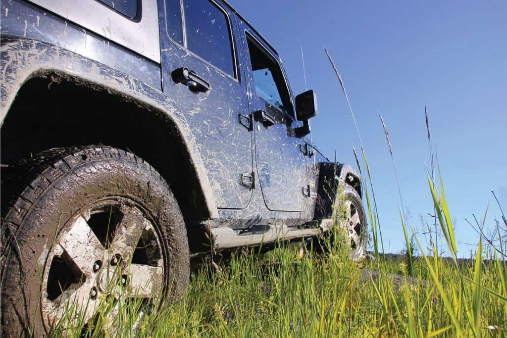 Jeep Wrangler hard top unlimited sahara in the forest, grassy and muddy terrain. How To Change A Hard Top Jeep To A Soft Top [And Vice Versa]
