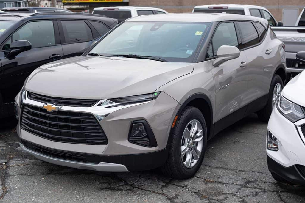 A 2021 Chevrolet Blazer mid size sport utility vehicle at a dealership
