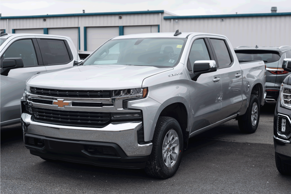 A 2021 Chevrolet Silverado 1500 Pickup Truck at a dealership.