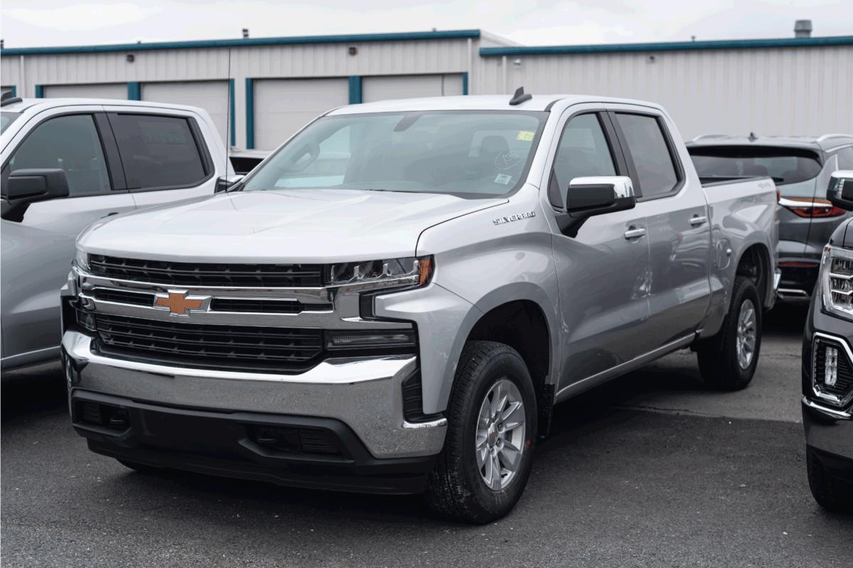 A 2021 Chevrolet Silverado 1500 Pickup Truck at a dealership.
