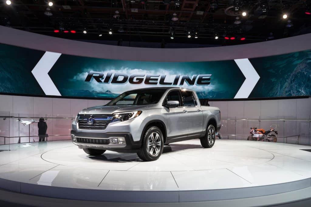 A Honda Ridgeline displayed at a car show