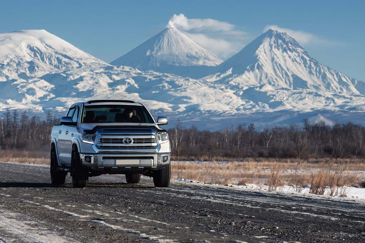 A huge Toyota Tundra moving along the snowy road of the countryside, 5 Best Front Wheel Drive Trucks