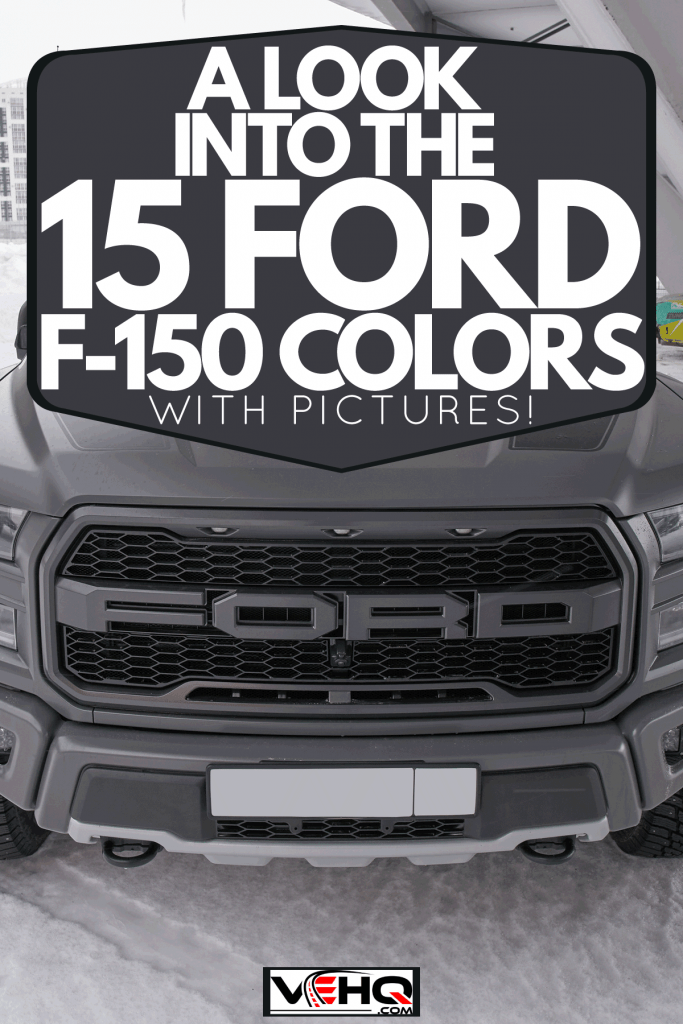 A Ford F-150 Raptor parked outside a Stadium, A Look Into The 15 Ford F-150 Colors [With Pictures!]