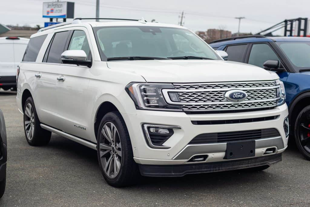 A luxurious white colored Ford Expedition