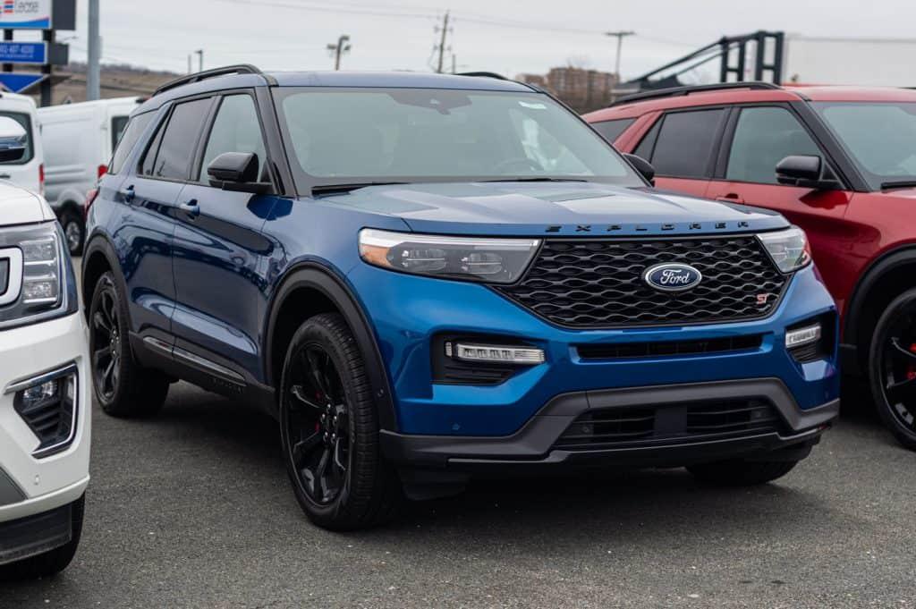 New model Ford Explorer suv at a dealership. Atlas Blue