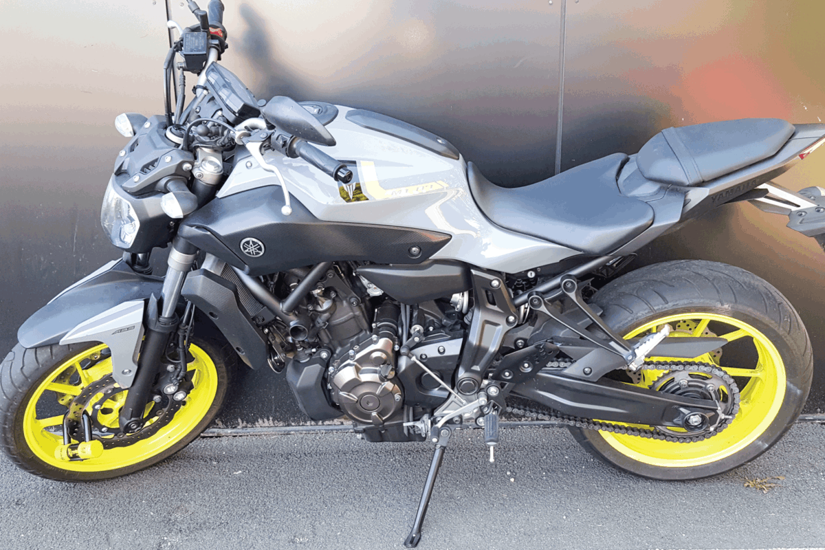 Yamaha mt-07 motor sport bike on the city street parked