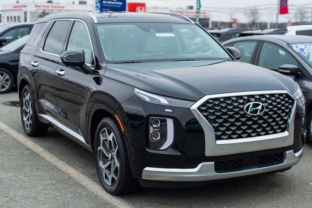 A 2020 Hyundai Palisade seven passenger sport utility vehicle at a dealership