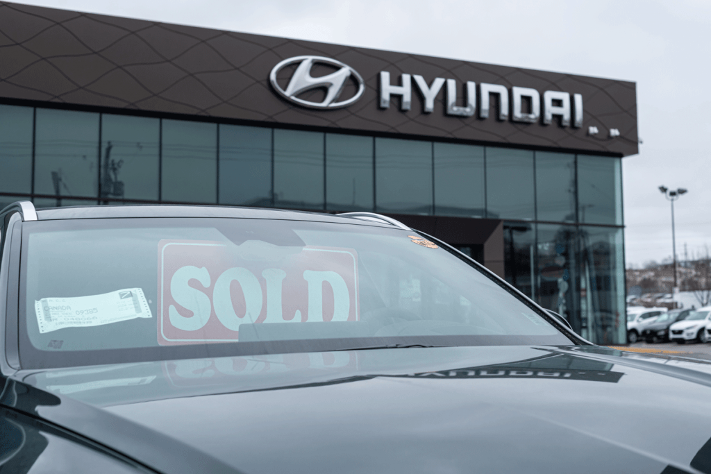 A Hyundai dealership photographed outside, Does The Hyundai Palisade Have Leather Seats?