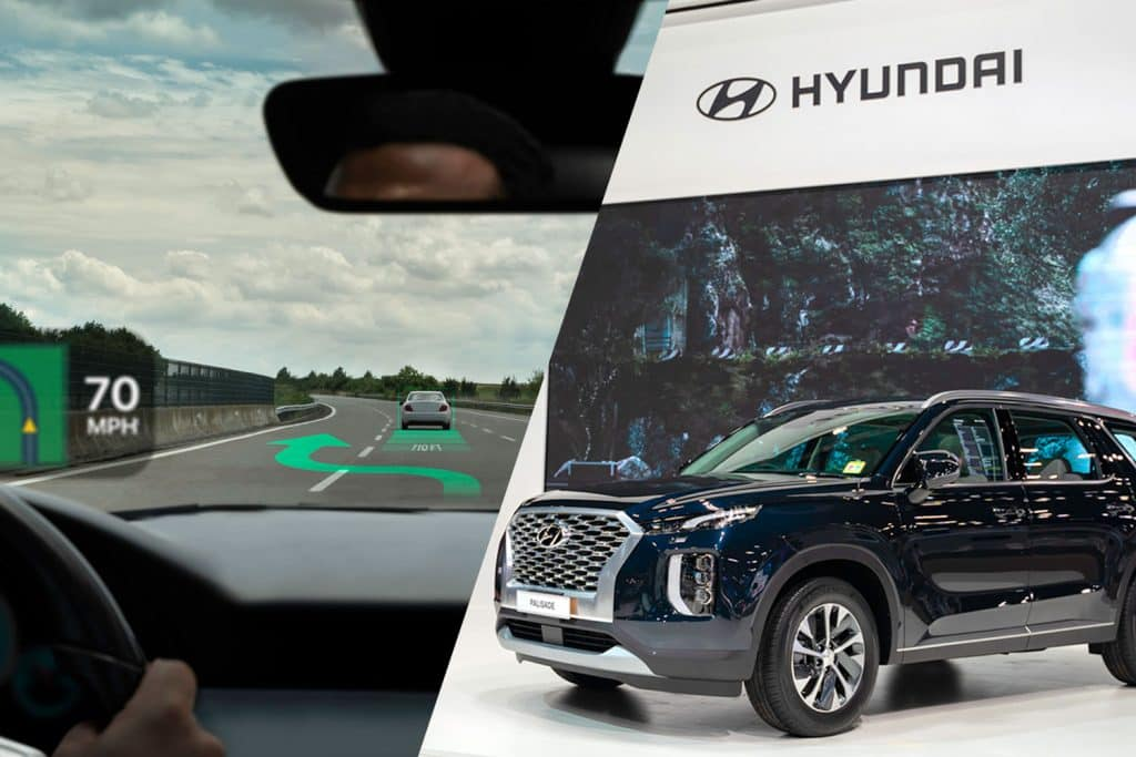 A collage of heads-up display, vehicle part and a Hyundai Palisade Exclusive SUV with beautiful exhibition design boot show on display, Does The Hyundai Palisade Have Heads-Up Display?