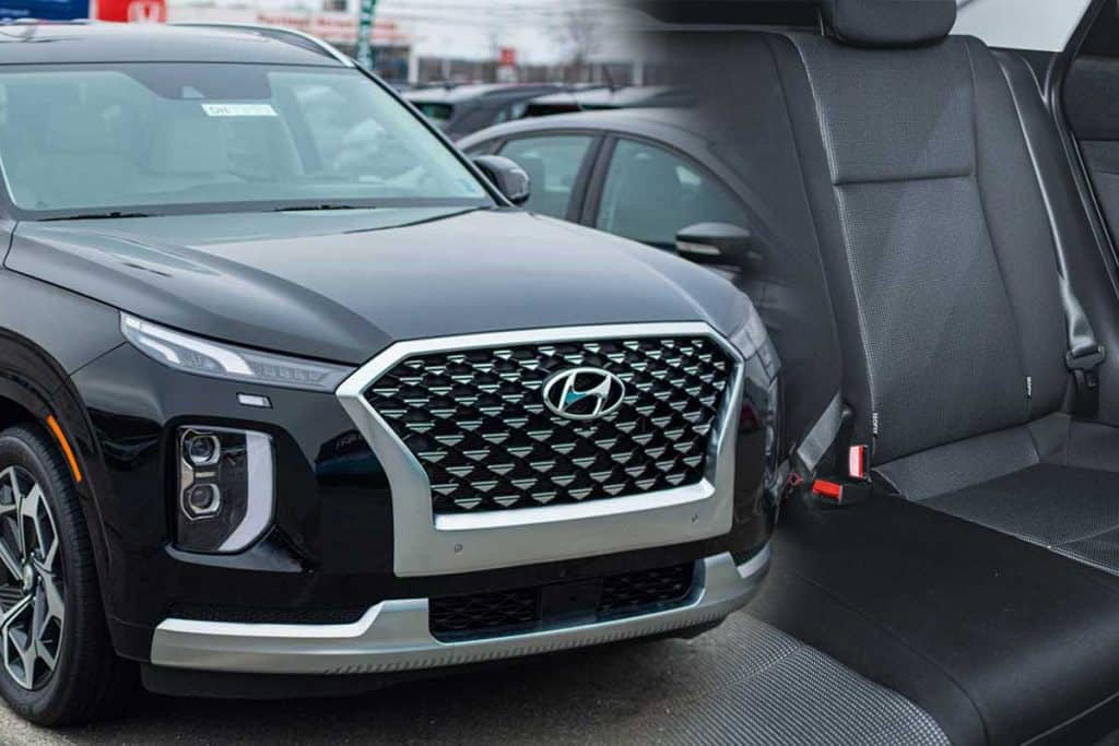A collage of a 2021 Hyundai Palisade SUV and a back seat of an SUV, Does The Hyundai Palisade Have A Third Row?