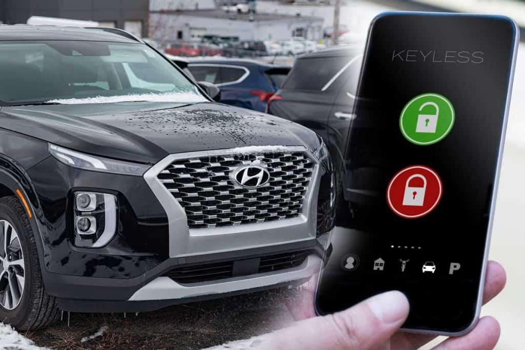 A collage of a Hyundai Palisade SUV and a digital car key on mobile device, Does The Hyundai Palisade Have A Digital Key?