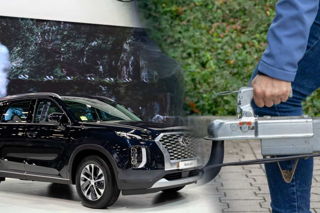A collage of a Hand holding yellow car towing strap with car, car towing and a hyundai palisade in autoshow, Does The Hyundai Palisade Have A Towing Package?