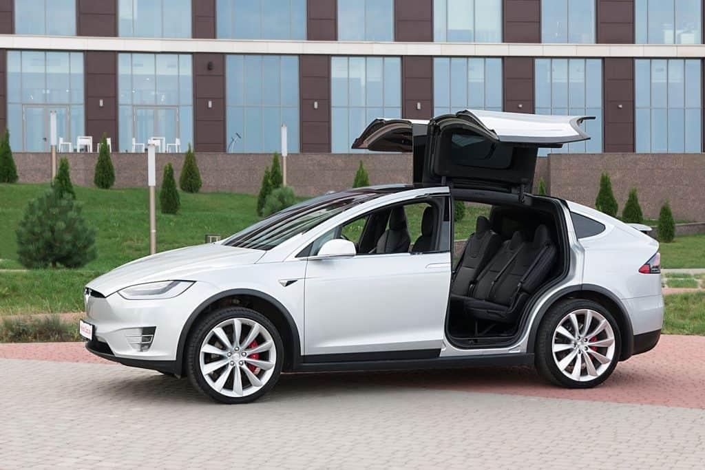 A gorgeous and luxurious white modern Tesla