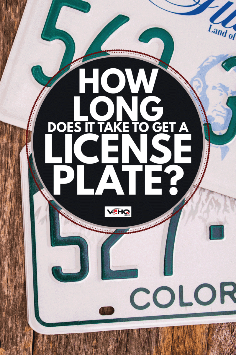 American License Plates on Wooden Background. Car Registration and Licensing Concept. How Long Does It Take To Get A License Plate